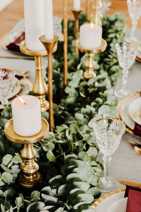 Décoration table mariage bohème chic bougeoirs