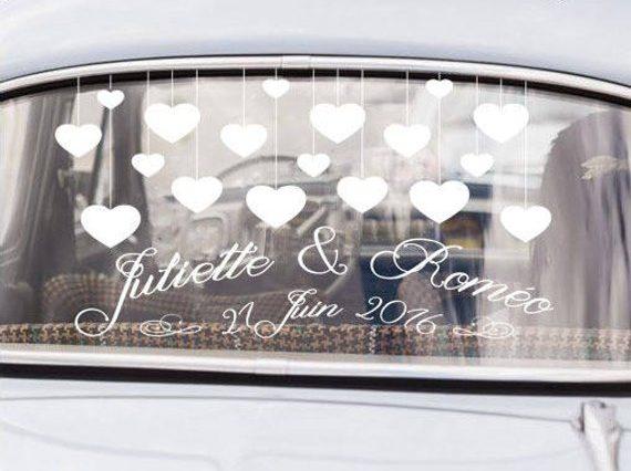 Décoration voiture stickers mariage tendance
