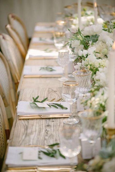 Thème mariage blanc table or vert