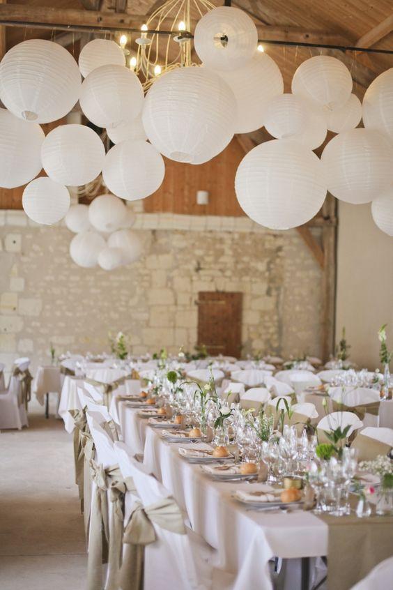 Thème mariage blanc salle boules table