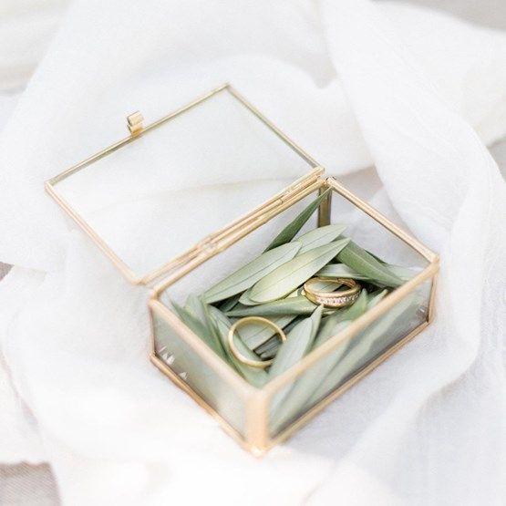 boite alliance laiton feuilles mariage bohème chic